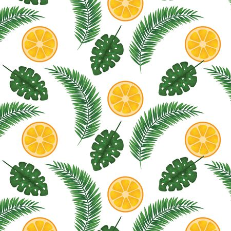 exotic leafs and oranges tropical pattern vector illustration design Stock Illustratie