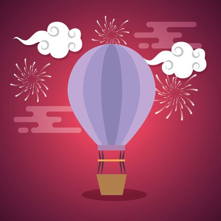 air balloon with clouds and fireworks decoration over pink background, vector illustration Illustration