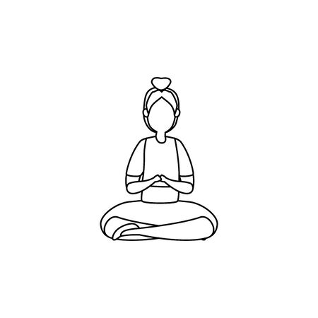 beauty woman practicing pilates with lotus position vector illustration design  イラスト・ベクター素材