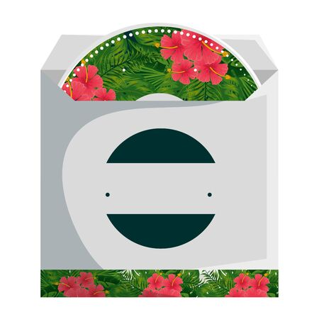 compact disk in bag with tropical flowers decoration vector illustration design