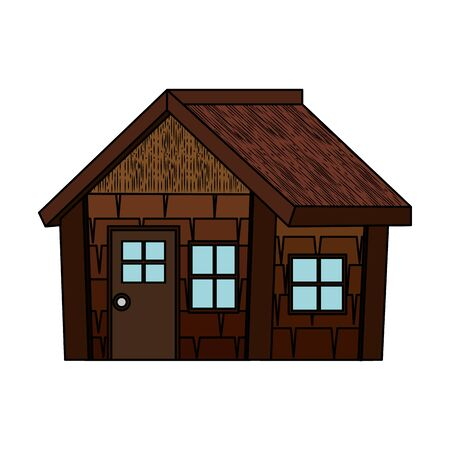 log cabin house isolated icon vector illustration design