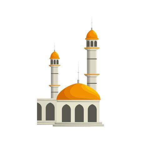Mezquita edificio palacio aislado icono diseño ilustración vectorial