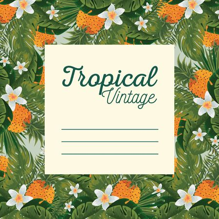tropical card with flowers plants and leaves vector illustration Иллюстрация