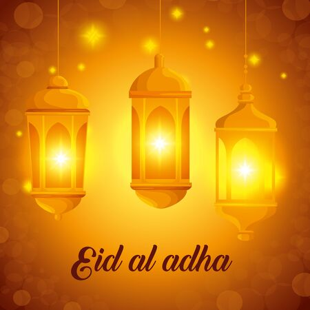 banner of lamps haning design with lights to eid al adha, vector illustration