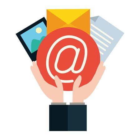 hands mail envelope photo message send email vector illustration