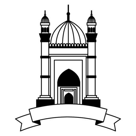 badshahi mosque building  with ribbon vector illustration design