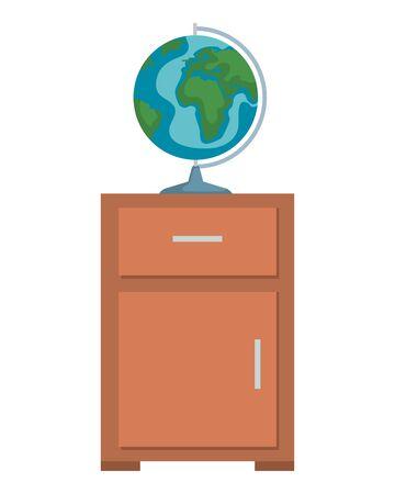 world map earth in drawer wooden vector illustration design Illustration