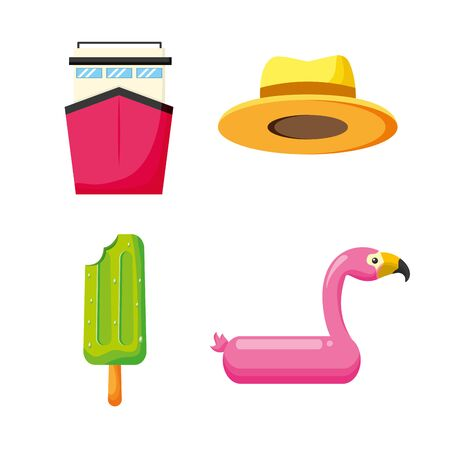 summer time holiday flamingo float ice cream hat cruise Stock Illustratie