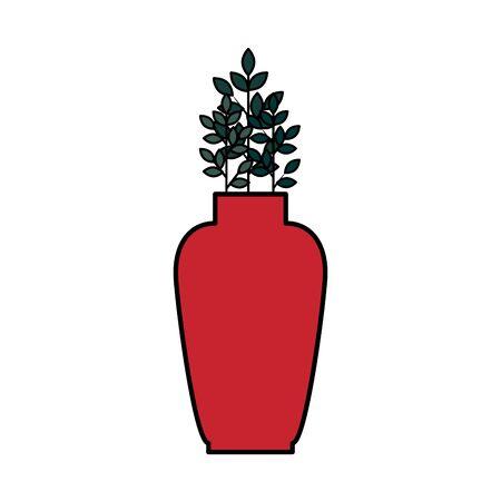 ceramic vase decorative with leafs plant vector illustration design Illustration