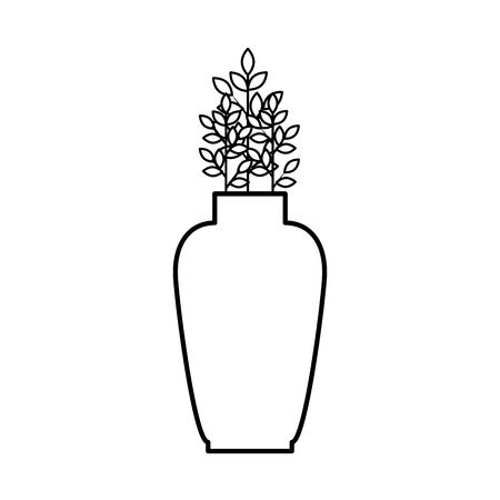ceramic vase decorative with leafs plant vector illustration design Stock Illustratie