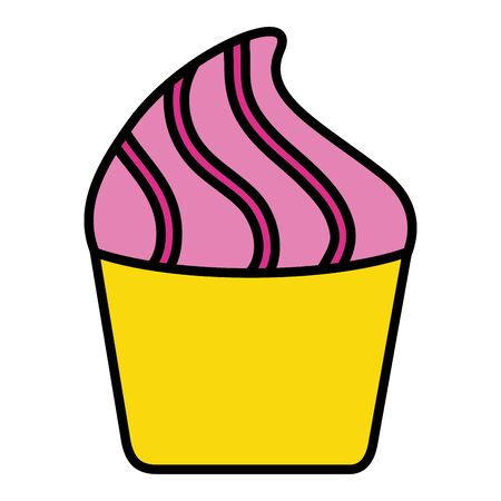 sweet cupcake on white background vector illustration Ilustração