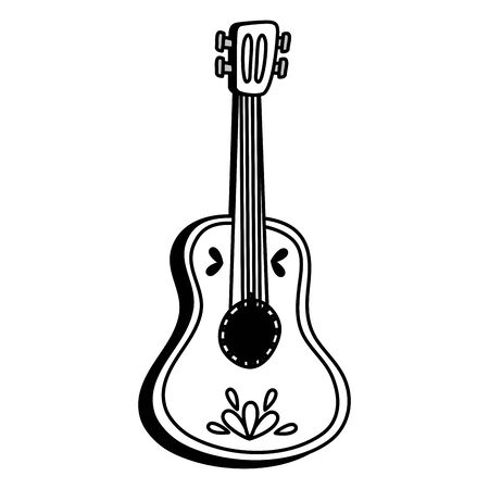 mexican traditional guitar instrument icon vector illustration design Çizim