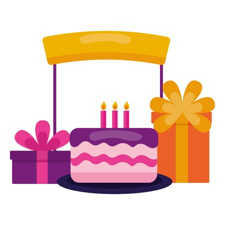 cake gifts box and board birthday celebration vector illustration