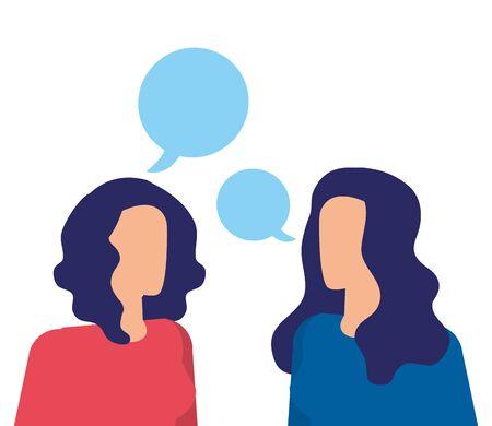 businesswomen workers speaking with speech bubbles vector illustration design Ilustração