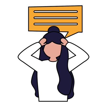 sadness girl disappointed and depressed talk bubble vector illustration