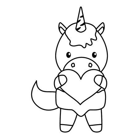 cute little unicorn baby with heart vector illustration design Ilustração