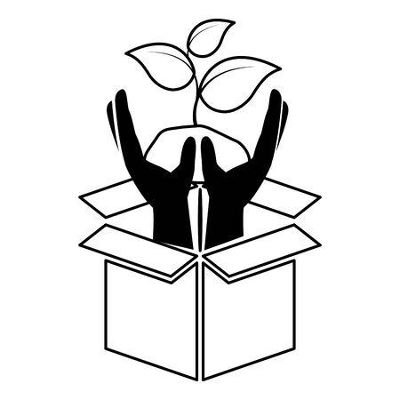 hands plant cardboard box eco friendly environment vector illustration