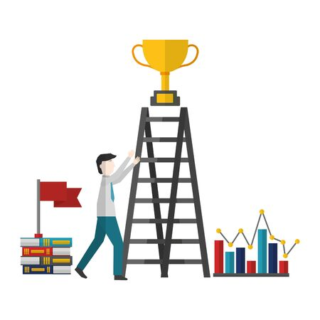 businessman with ladder trophy books vector illustration