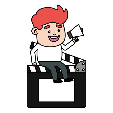 man with megaphone sitting on clapboard film production vector illustration Imagens - 129883322