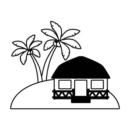 beach vacations bungalow exotic palms vector illustration