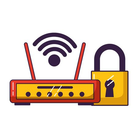 router device secuirty wifi free connection vector illustration