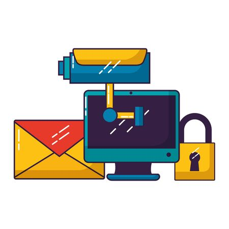 computer camera secure email wifi free connection vector illustration