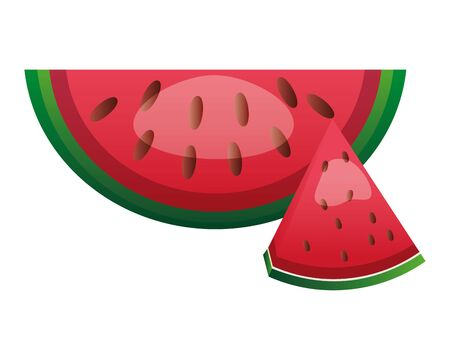 watermelon slice fresh fruit nutrition vector illustration Ilustracja