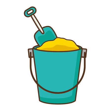 bucket sand shovel toy white background vector illustration