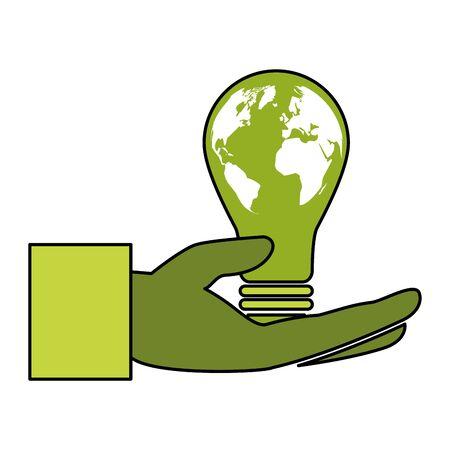 hand bulb planet eco friendly environment vector illustration Archivio Fotografico - 129919149