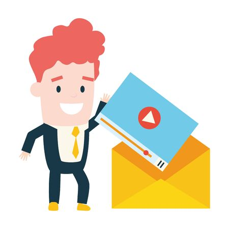 businessman with envelope web send email vector illustration Illusztráció