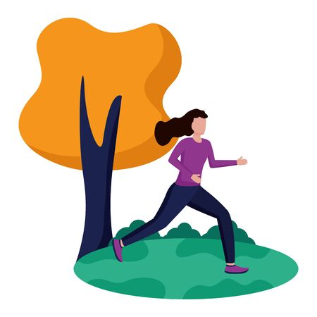 woman practicing running activity in the park vector illustration
