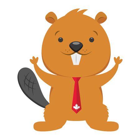 Castor corbata bandera carácter feliz día de Canadá ilustración vectorial
