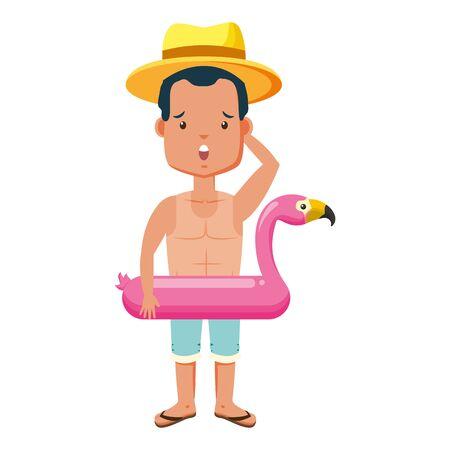 summer time people  man wear flamingo float vector illustration
