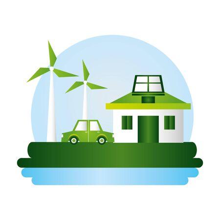 windmill house solar panel car eco friendly vector illustration