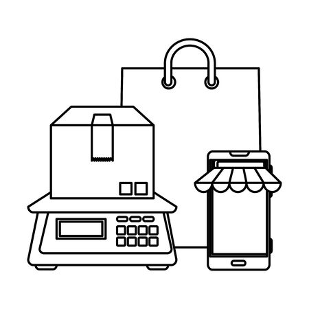 box carton packing with digital balance and shopping bag vector illustration design