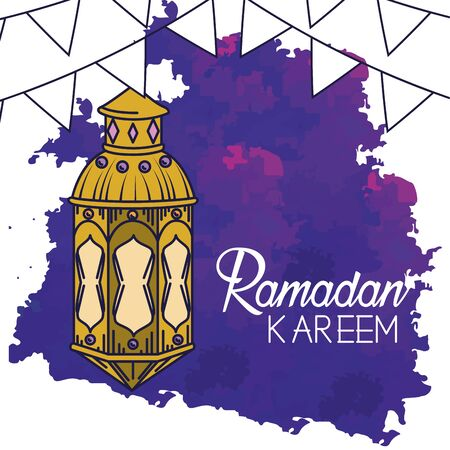 lamps with party banner to ramadan kareem vector illustration Stock Illustratie
