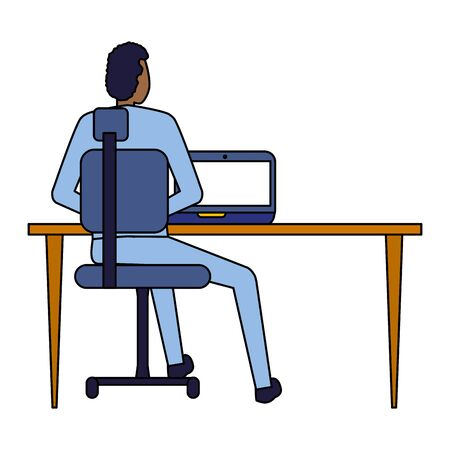 back view businessman working office desk computer business vector illustration