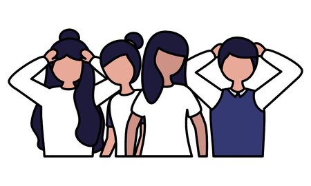 group people mental disorder psychological depressed vector illustration