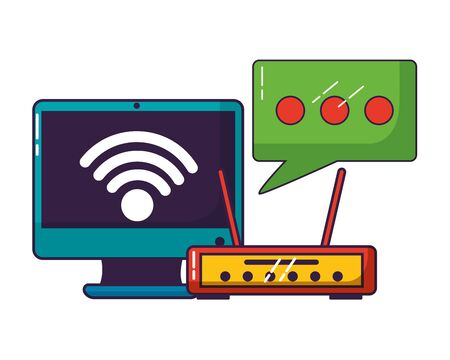 computer router wifi internet connection vector illustration 스톡 콘텐츠 - 129930683