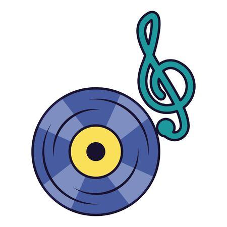 note musical vinyl on white background vector illustration Иллюстрация