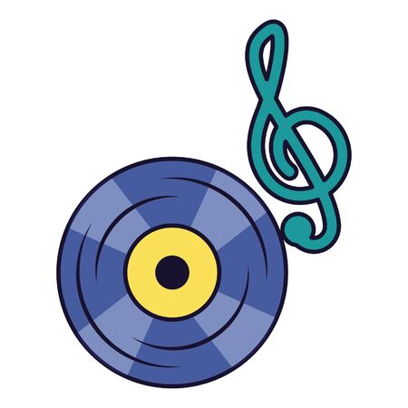 note musical vinyl on white background vector illustration Ilustração