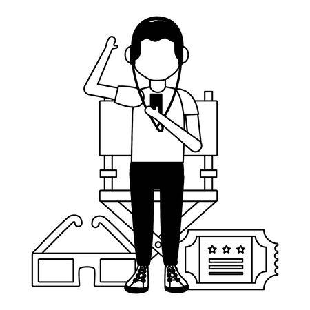 Hombre con boleto de auriculares y gafas 3d ilustración de vector de cine