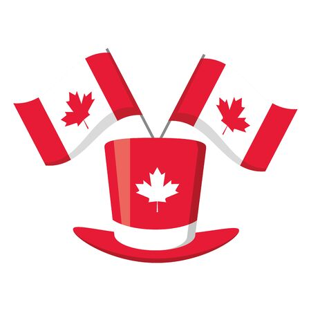 Hut Flaggen Happy Canada Day Vector Illustration