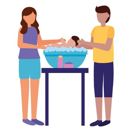 father and mother washing her baby in soapy water pregnancy and maternity vector illustration