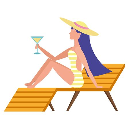 woman with cocktail in swimsuit sitting on deck chair vector illustration