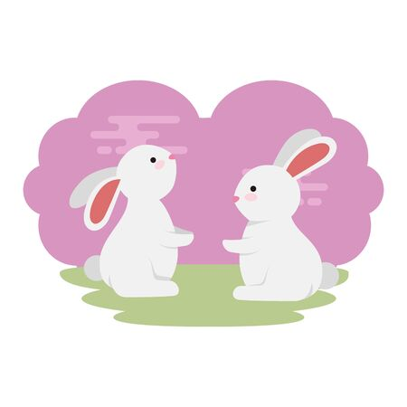 cute and little rabbits couple in grass characters vector illustration design Иллюстрация