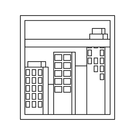 window with cityscape view scene vector illustration design
