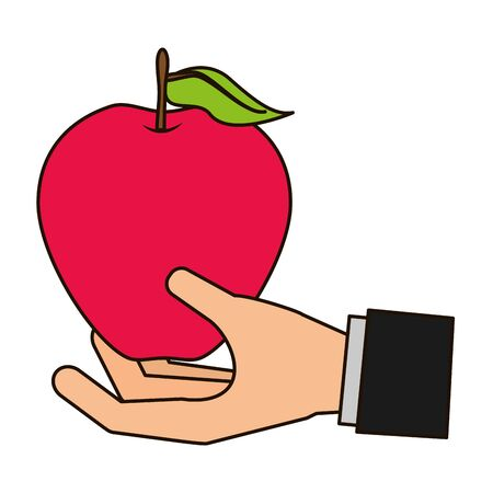hand with apple tropical fruits vector illustration