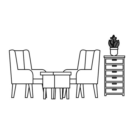 confortable sofa and wooden table livingroom scene vector illustration design Foto de archivo - 129860440