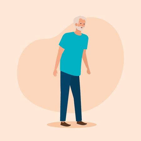old man with shirt and jean and hairstyle over pink background, vector illustration